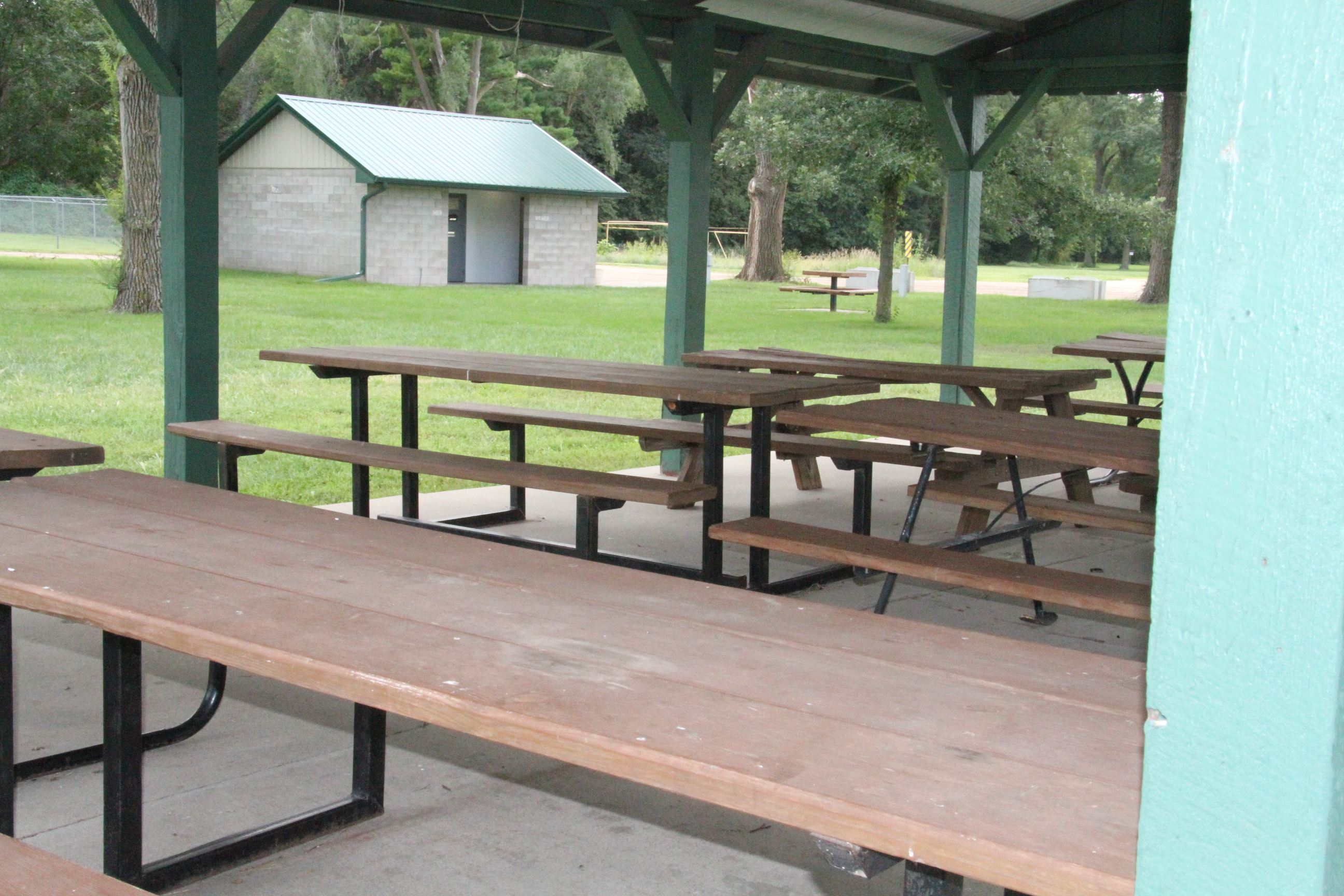 Picnic Tables Under Open Shelter