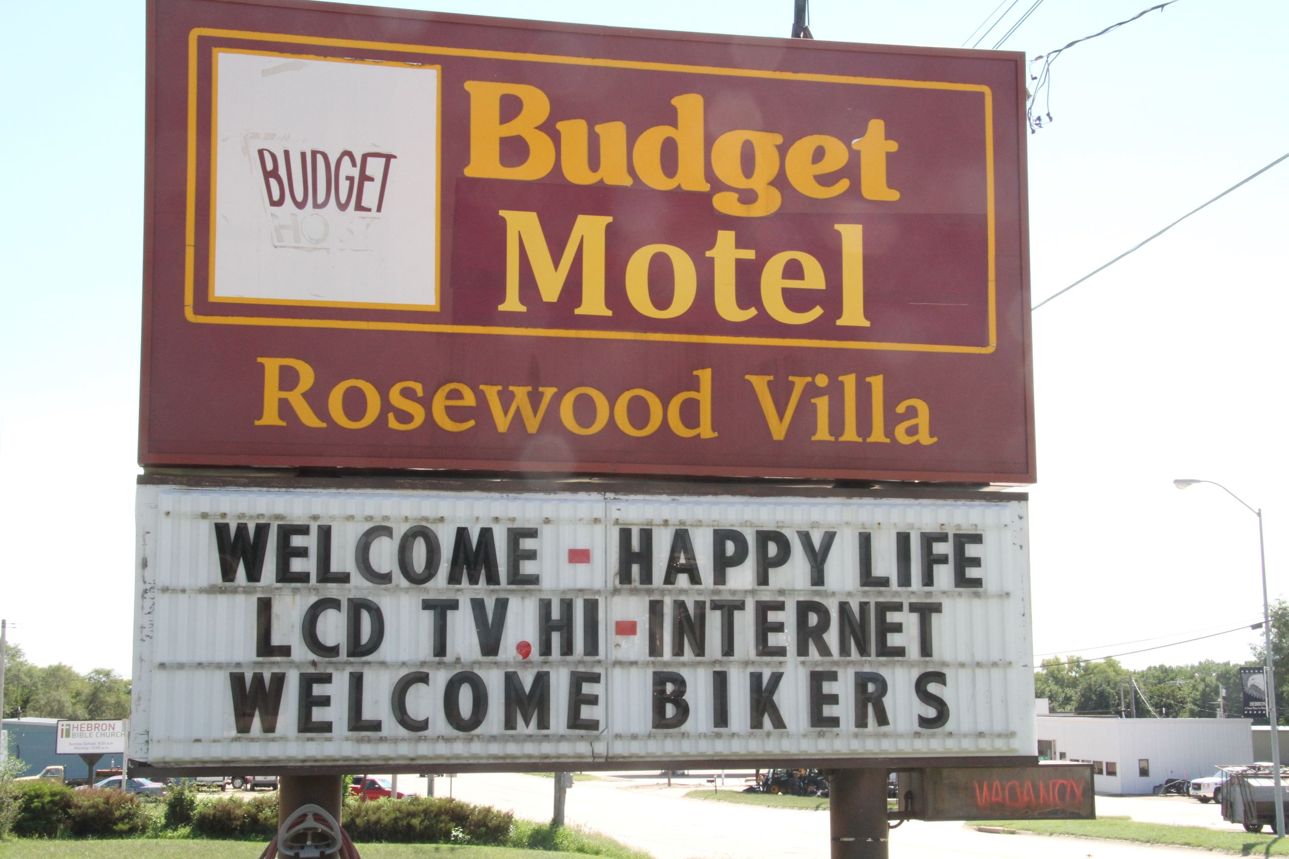 A sign for the Budget Motel.